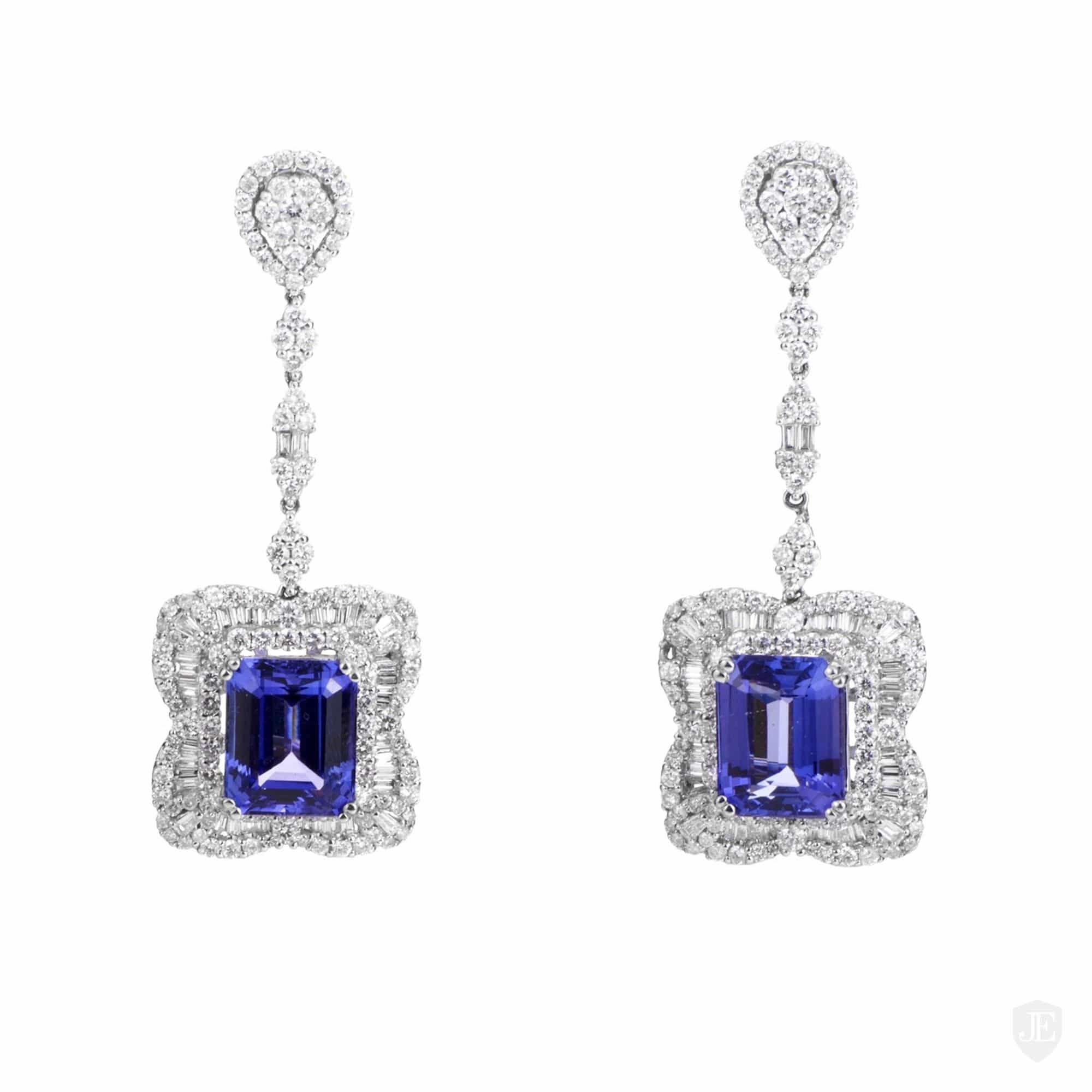 white carat carats and gold tanzanite diamond earrings
