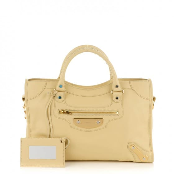 Sale Products BALENCIAGA Veau Amp Plate Gold City Beige Argile 1