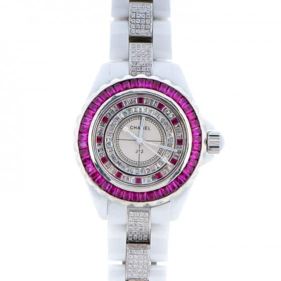 Top Rated Products CHANEL Ceramic Diamond Ruby 33mm J12 Quartz Watch White1