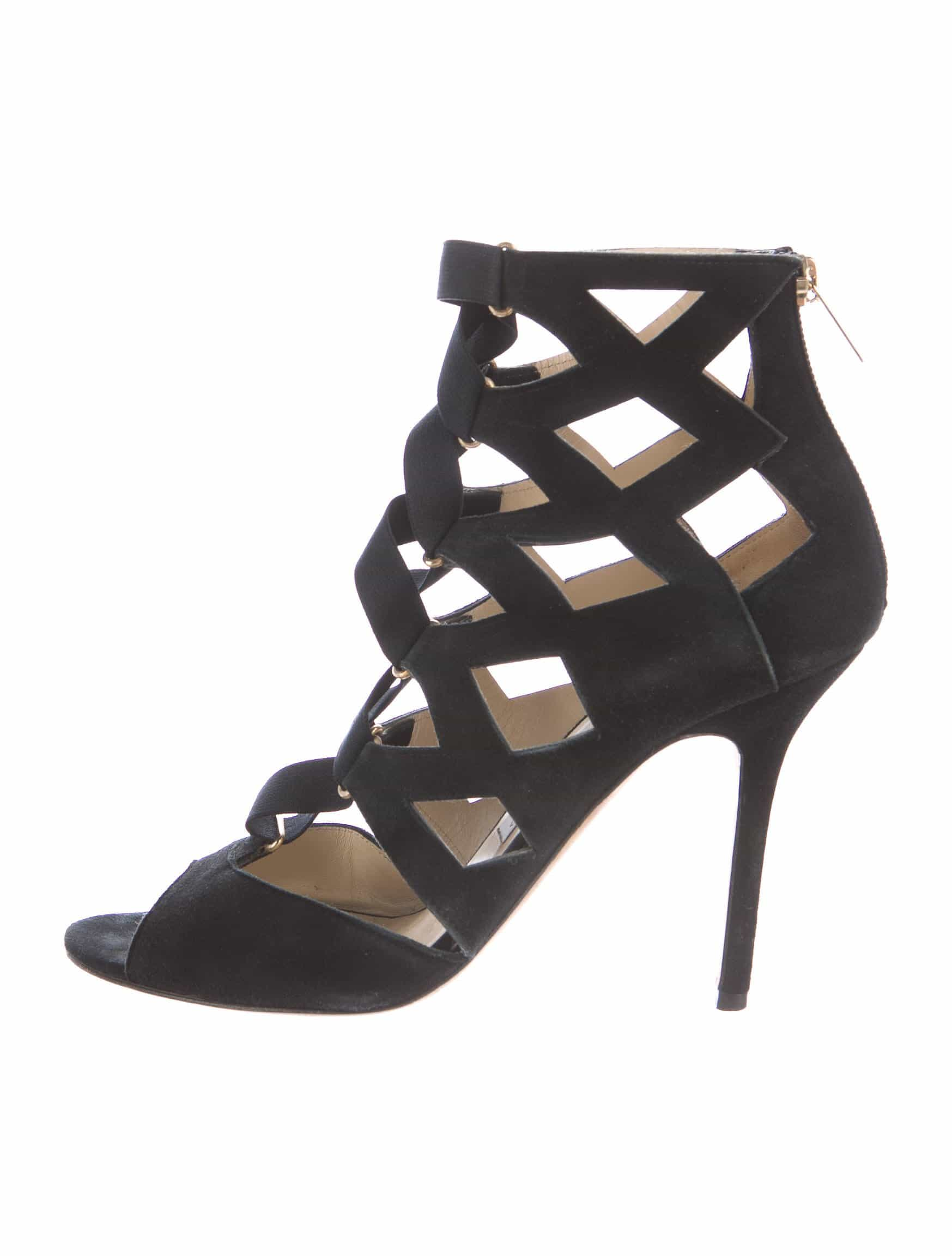 c5460263e1b5 black suede jimmy choo cage sandals size 9 Black Suede Jimmy Choo Cage  Sandals Size 9