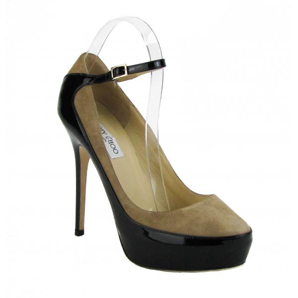 Best Selling Products Jimmy Choo Black and Beige Patent Leather Tenzin Pumps Size 9