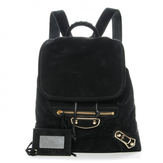Top Rated Products balenciaga baby daim calf suede metallic edge gold backpack black 00