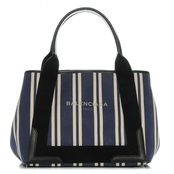 Best Selling Products balenciaga canvas stripped navy cabas s tote 10