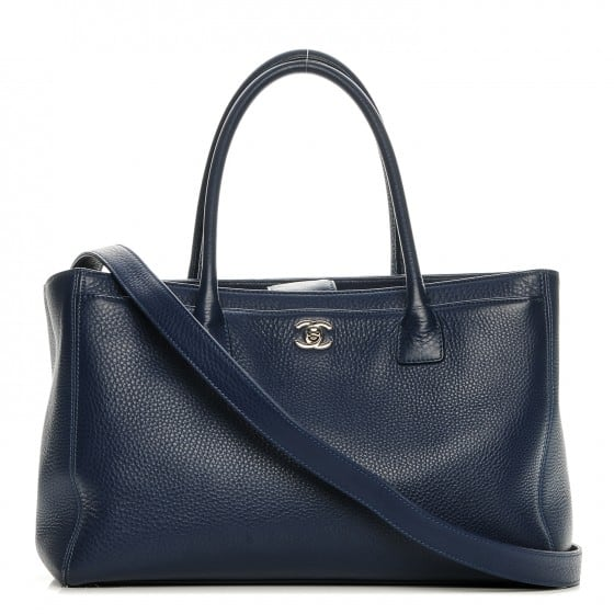 Sale Products chanel calfskin cerf executive shopper tote navy blue 00